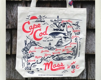 Cape Cod Tote Bag Natural • Red & Navy