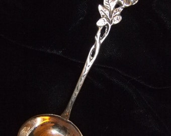 Vintage Small Swedish Silver Ladle, From Gewe of Malmö, Sweden, 1961, Rose Handle, 830S