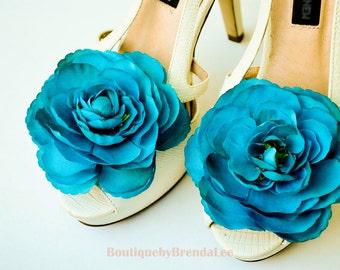 Teal Ranunculus Shoe Clips