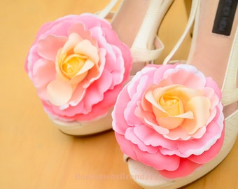 Pink Camellia Shoe Clips