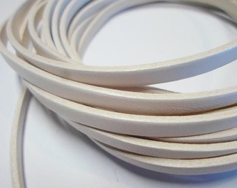 "24""  5mm Flat White with white trim Leather cord"