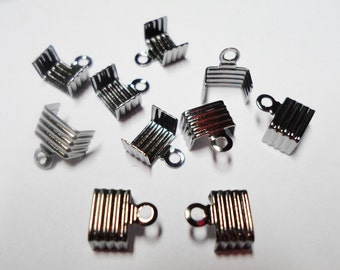 10 Gunmetal 5mm -6mm Flat Leather Cord ends, Fold Over Crimp