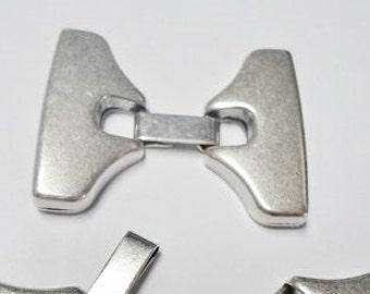 SALE: 1 Silver 30mm flat leather latch clasps, Zamak,