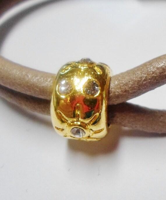 Usa Store 1 Gold Rhinesone Bead Large Hole 9mm Opening