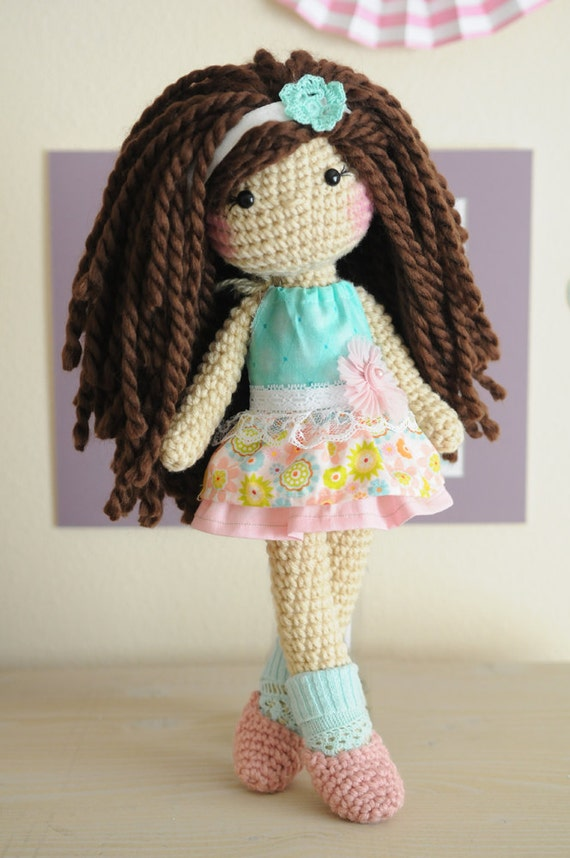 Hair On Amigurumi : 14 Crochet doll with brown curly hair wool yarn. RTS