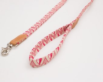Pink Geo Classic Dog Leash, Designer dog leads, handmade from leather and printed fabric. Fancy dog leash in modern geometric design.