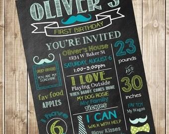 Mustache First Birthday Chalkboard Invitation - Bow Tie 1st Birthday Invitation - Mustache & Bow Ties Birthday Printable Invitation File -