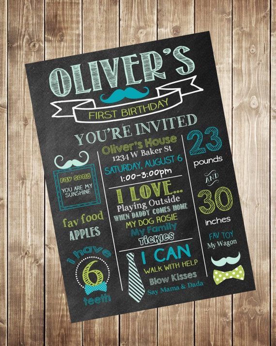 Mustache First Birthday Chalkboard Invitation Bow Tie 1St