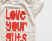 Love Your Guts one piece, natural with red ink