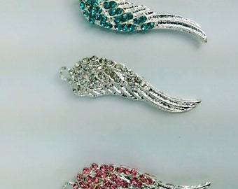 5 pcs  silver   plated rhinestone two sided   angel wing  pendant  angel wing jewelry