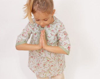 Floral girls TUNIC pattern pdf - easy children sewing patterns - sizes from 3 to 8 years