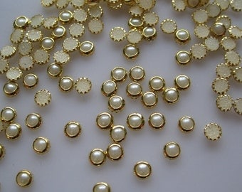 100pcs Cute 4mm Pearl with Gold Outside Decoration Nail Art decoration OD-64