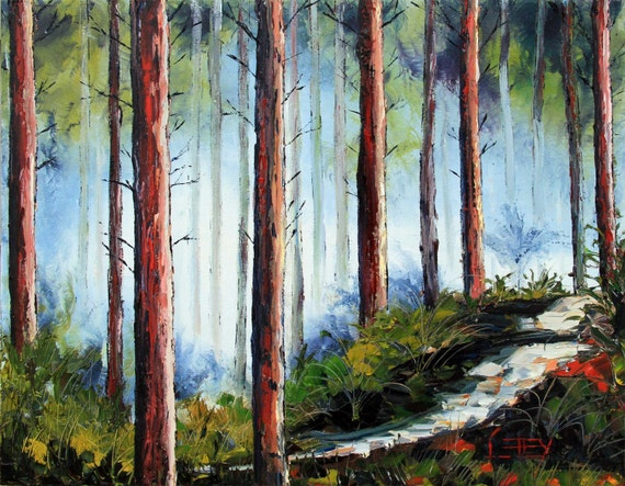 Landscape Redwood Painting California Redwoods Sequoia Tree Redwood Tree Painting