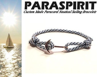 Silver Anchor Nautical Bracelet with Arctic Digital Paracord