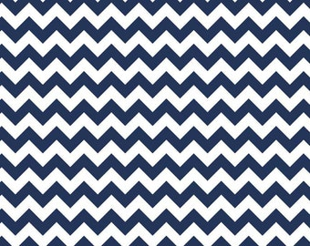 Navy Blue Small Chevron Fabric by Riley Blake Designs. Navy Zig Zag modern fabric. 100% cotton, C340-21