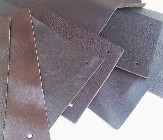 Brown leather pieces piece 9 9 x 5 9 craft for Leather sheets for crafting
