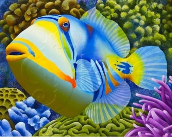 Carolyn steele tropical art print scuba by waterlemonmoon for Tropic fish hawaii