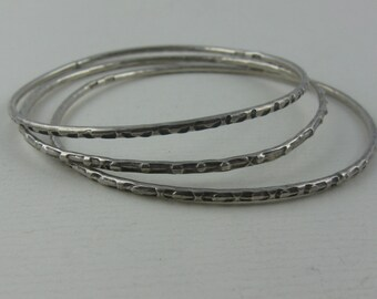 Silver jewelry set: 3 beautiful, narrow silver bracelets made of silver (875 Ag). VINTAGE