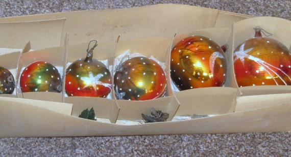 Boules en verre lauscha belles anciennes 6 morceaux dans le - Boules de noel anciennes ...
