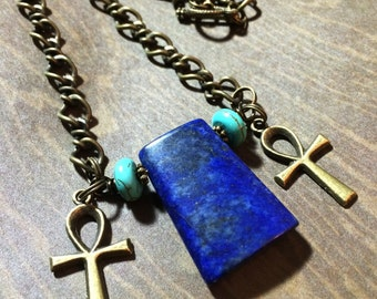 Lapis Lazuli Egyptian Ankh Necklace | Egyptian Cross Pendant | Egypt Key of the Nile | Isis Cleopatra | African Kemet Goddess Jewelry