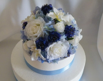 Wedding Cake Topper  Silk Flowers Blue and White