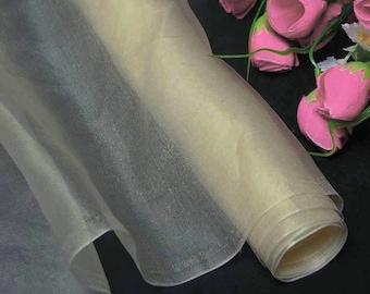 Silk Organza Fabric Dark Ivory Pure Natural Silk Material  (za45dd X Yards) Online for sale fashion fabric