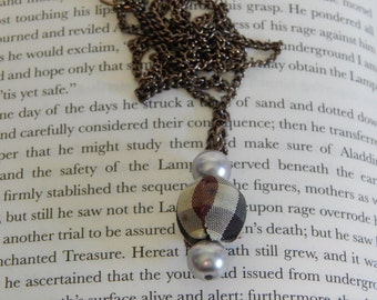 Plaid and Gray Pearl Necklace