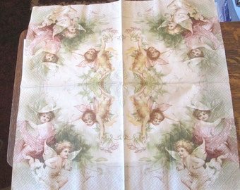 new German Victorian Cherubs Angels paper decoupage pink green napkins for high tea party arts crafts project lot