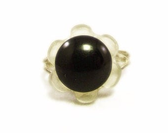 Cute Black and Clear Flower Button Ring - Adjustable