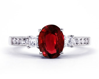 Arya Ruby Engagement Ring with 0.2ct Diamond In 18ct White Gold