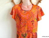 1960s nylon dress, psychedelic dress. Size S.