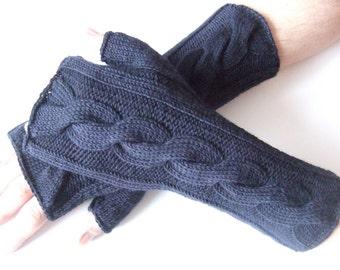 Knitted of 100 % soft MERINO wool. Deep blue MENS fingerless gloves, fingerless mittens, wrist warmers. Handmade.