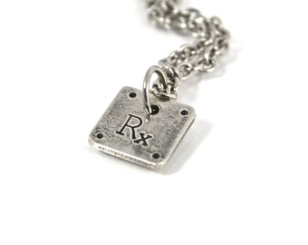 Necklace for Crossfit Athlete, Rx As Prescribed Workout Fitness Charm Necklace