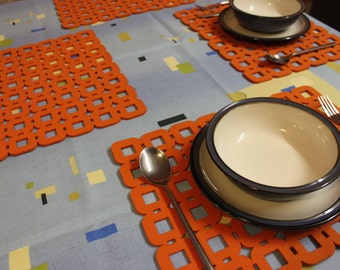 Placemats and Coasters a Circle Round  Designs Felt Table Mats Set of 4 Pieces
