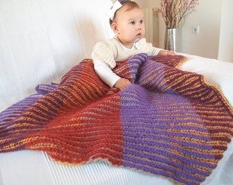 Knitting Pattern Baby Blanket with English rib in two colors
