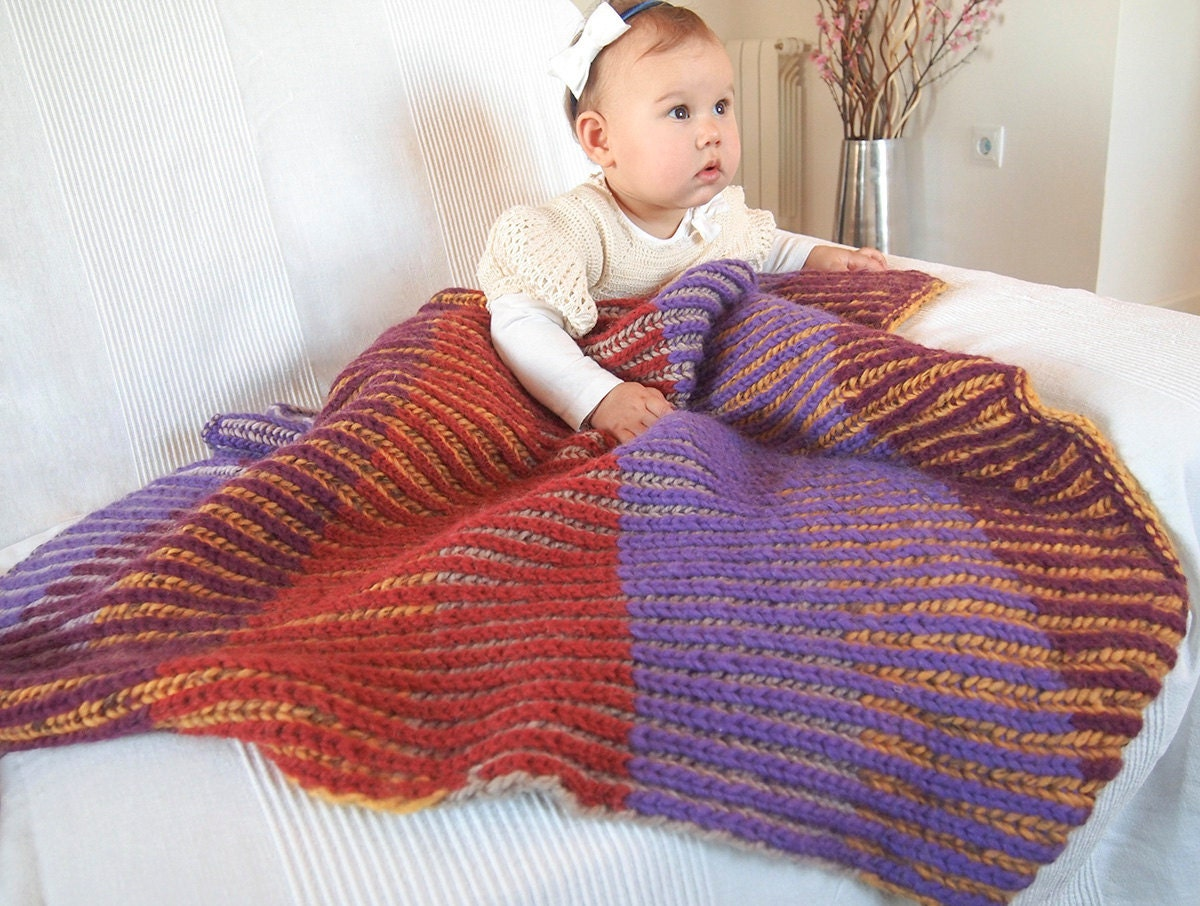 Two Color Baby Blanket Knitting Pattern : Knitting Pattern Baby Blanket with English rib in two colors