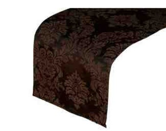 Chocolate Brown Damask Table Runner
