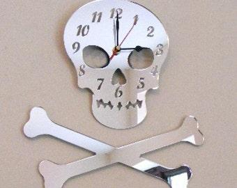 Skull and Crossbones Clock Mirror
