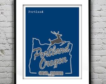 Portland Oregon White Stag Sign Poster Art City Skyline Print Version 2