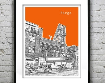 Fargo North Dakota Poster Skyline Art Print ND Version 2