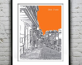 San Juan Puerto Rico Skyline Poster Art Print Version 4