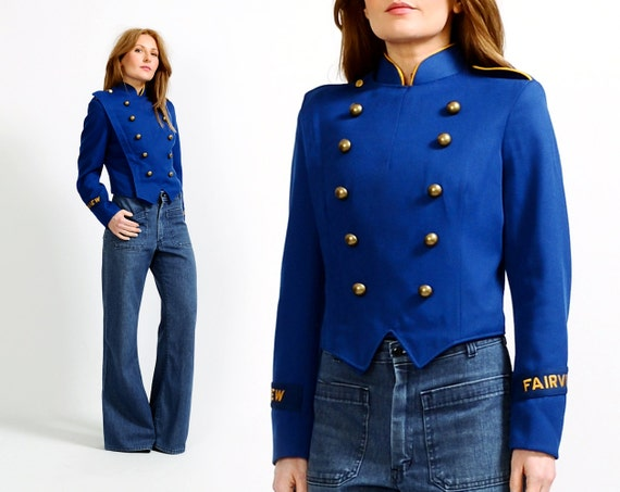 vintage 70s MILITARY BAND Jacket S marching uniform blue