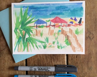 Beach Watercolor Notecard Stationery -- Beach tents, Gulf Shores Alabama