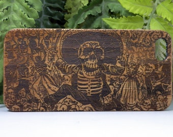 Day of the Dead iPhone 6 or iPhone 6S Case. Bamboo Wood Cover. Mexican Calavera Oaxaquena Catrina. Dia De Los Muertos. Sugar Skull Mexico