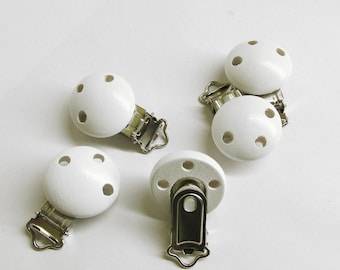 Wood pacifier clip, white, 1 pc. for dummy holders, pacifier holders.