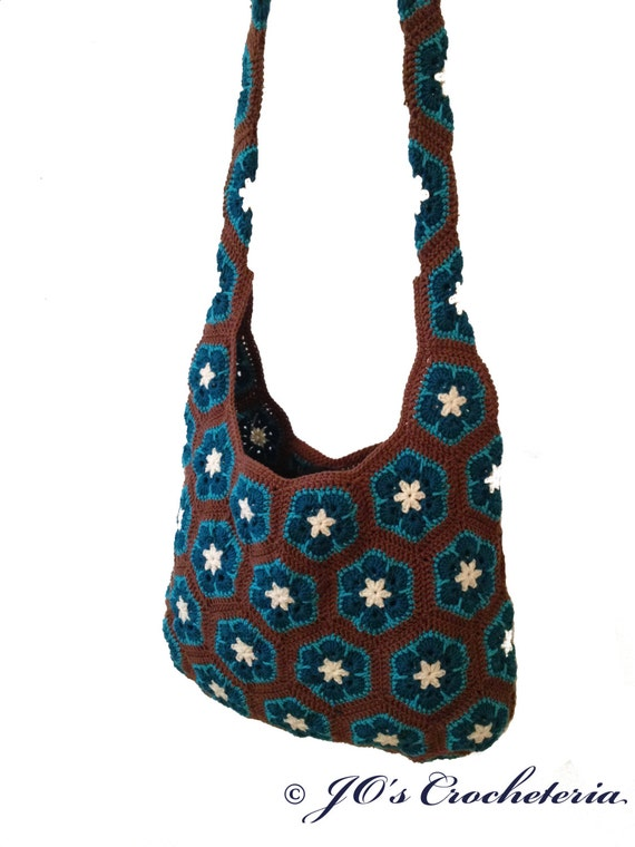 Crochet Pattern African Flower Shoulder Bag By Joscrocheteria