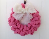 Pink Burlap wreath Breast Cancer Awareness