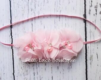 LIGHT PINK headband, skinny band Baby headband, newborn, toddler, girls hair bows,Shabby chic flower, Chiffon flower, flower headband