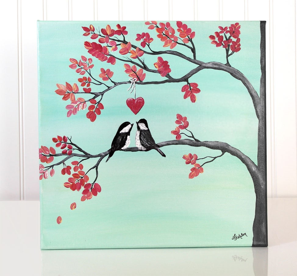Original canvas painting love bird painting coral and mint for What paint for canvas