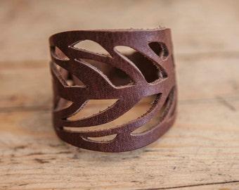 LACED leather BRACELET // Leaf Leather Bracelet